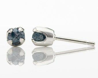 Blue Rough Diamond Post Earrings - 5mm Studs, Four Prongs - Raw Uncut Unfinished Diamonds on Silver Stud Earrings - Natural Conflict Free