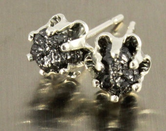 Buttercup Earrings with Black Rough Diamonds - Silver Studs - Large Raw Unfinished Diamonds - Jet Black Diamond Ear Studs