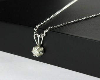 4mm White Rough Diamond Necklace on Sterling Silver - Natural Conflict Free Diamond - Raw Rough Diamond Pendant - April Birthstone