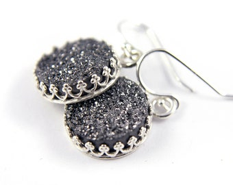 Druzy Earrings - Silver Bezel Sets - Black Drusy Quartz - Round Druzzy Earrings - April Birthstone