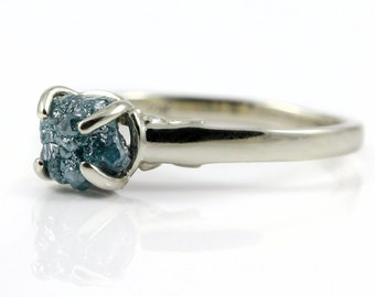 Blue Raw Rough Diamond Ring - 14K Engagement Ring Filigree - Natural Conflict Free Diamond Uncut Unfinished