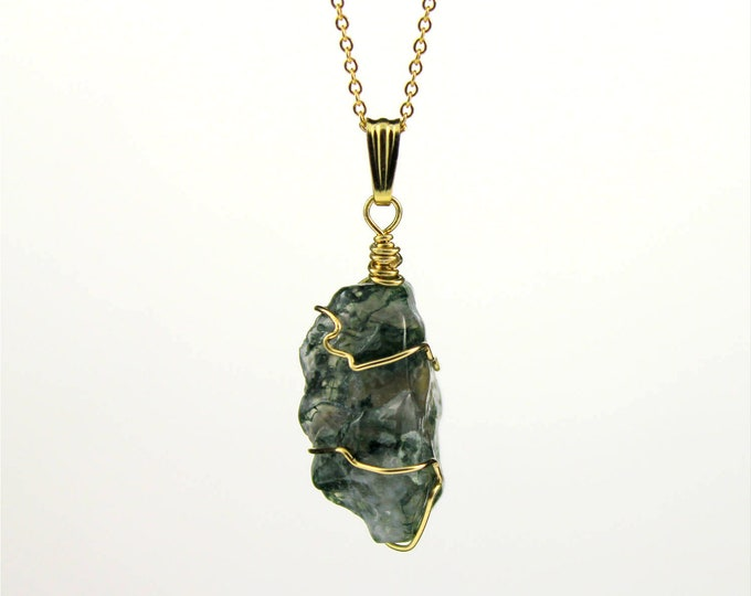 Featured listing image: CHRISTMAS GIFT - Rough Agate Necklace - 14K Gold Filled Necklace with Irregular Shape Moss Agate - Green Agate Gemstone - Abstract Stone