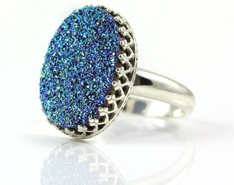 Druzy Ring - Oval Bezel Set Silver - Blue Drusy - Cassiopeia Seas Druzzy - Druzy Quartz - April Birthstone