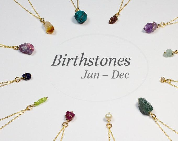 Featured listing image: Birthstone Necklace - Rough Gemstone Necklace - Birthday Necklace - Personalized Jewelry - Chakra Jewelry - Birthday Gift