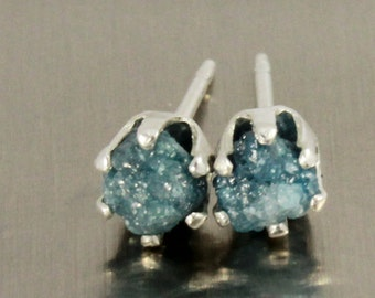 Blue Rough Diamond Post Earrings - Rare Blue Unfinished Diamonds - Sterling Silver Ear Studs - April Birthstone
