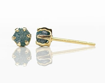 4mm Blue Raw Rough Diamond Gold Earrings - 14K Gold Filled Ear Studs - Rare Blue Uncut Diamonds, Conflict Free