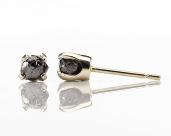 4mm Studs - Black Raw Rough Diamonds on 14K White Gold Ear Posts - Solid Gold Ear Studs - Natural Conflict Free Diamonds