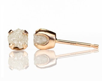 14K Rose Gold Earrings with Rough Diamonds - White Conflict Free Natural Raw Stones - 5mm Gold Post Earrings