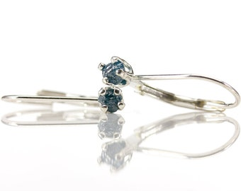 Blue Diamond Leverback Earrings in Sterling Silver - Rough Raw Diamonds Natural Uncut Conflict Free - April Birthstone - 4-prong Lever-Back