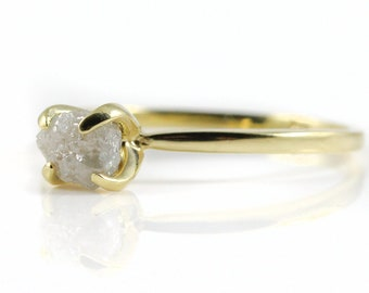 Raw Diamond Engagement Ring in 14K Yellow Gold - White Rough Uncut Diamond - Conflict Free Natural - April Birthstone - Solid Gold Ring