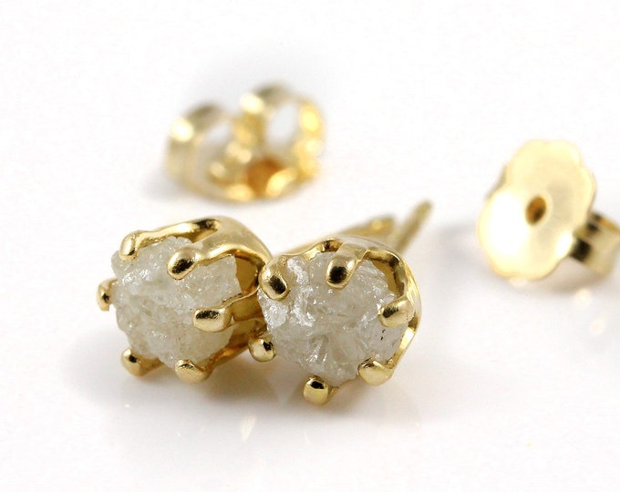 Featured listing image: 5mm 14K Gold Filled Studs With Rough Diamonds - Conflict Free White Raw Diamonds Diamonds - Large Post Ear Studs - April Birthstone