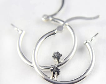 Sterling Silver Hoop Earrings - Black Rough Diamonds - Bridal Jewelry, Bridesmaids - April Birthstone