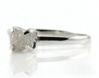 Promise Ring - White Rough Diamond - Sterling Silver Engagement Ring - Natural Raw Diamond, Conflict Free