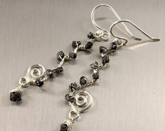 Wire Wrapped Rough Diamond Earrings - Sterling Silver Wavy Swirl Links - White Black or Blue Raw Diamonds - April Birthstone