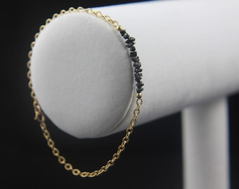 Rough Diamond Bracelet - Tough Diamond Bur Bracelet - 14K Gold Filled Ribbed Chain - Black Raw Diamonds - Bridesmaid Gift, Wedding