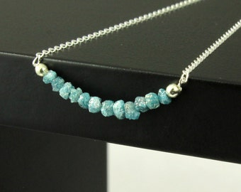Blue Rough Diamond Necklace - Mother's Day Gift - Raw Diamond Bar Necklace - Rare Blue Natural Raw Diamonds - April Birthstone