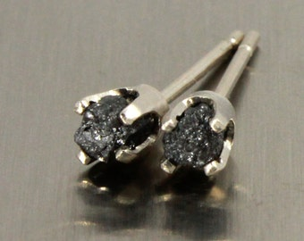 14K White Gold Studs with Black Diamonds - Jet Black Raw Rough Diamonds - Tiny Gold Post Earrings - April Birthstone