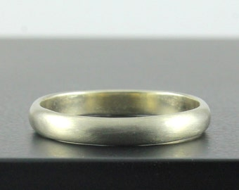 14K Gold Band 3mm Matte Finish - Half Round Simple Band - Brushed Finish Band - White Yellow Rose Gold