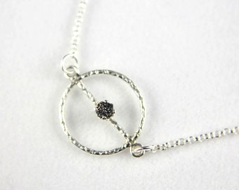 Textured Charm Necklace - Sterling Silver Rolo Chain - Black Rough Diamond - Raw Diamonds - April Birthstone