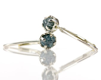 1 Carat Raw Rough Diamond Earrings - Sterling Silver Leverback Earrings - Blue Natural Conflict Free Diamonds