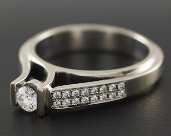 Diamond Engagement Ring - 14K White Gold Weeding Ring - Unique Design - Classic Ring with Diamonds