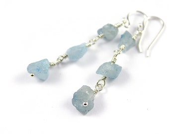 Aquamarine Earrings Sterling Silver - Triple Raw Aquamarine Stones - Irregular Shape - March Birthstone