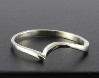 Silver Wedding Band - Swirl Design Simple Ring - Custom Band Made to Go with Swirl Diamond Ring