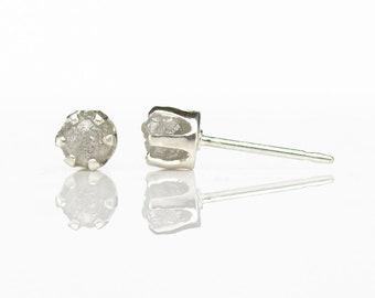 Rough Diamond Stud Earrings on Silver - 4mm Ear Studs - White Uncut Raw Diamonds - April Birthstone