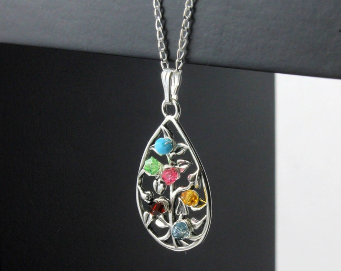 Featured listing image: Mother's Day Gift - Tree of Life Necklace - Birthstones Necklace - Wire Wrapped Tree Teardrop - Sterling Silver Family Tree Necklace