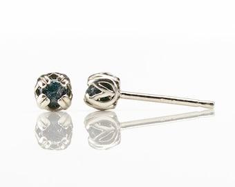 3mm Raw Diamond Post Earrings - Sterling Silver Double-prog Ear Studs - Natural Uncut Rough Black Diamonds