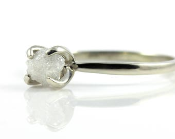 Raw Diamond Ring 14K Gold - White Conflict Free Diamond - Engagement Ring - April Birthstone
