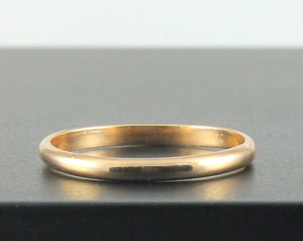 14K Gold Wedding Band - Lightweight 2mm Wedding Ring in Yellow, White or Rose Gold