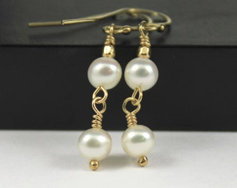 Two Pearls Gold Filled Wire Wrapped Drop Earrings, Bridesmaid, Bridal Earrings, Wedding, 14k Gold-Filled, Elegant, Freshwater Pearls