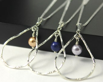 SET of Wedding Pearl Necklaces - Teardrop Necklace with Rose Gold, Lavender or Blue Lapis Pearl - Hammered Textured Finish - Sterling Silver