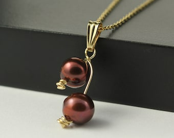 Double Pearl 14K Gold Filled Necklace, Freshwater Pearl, Elegant and Classic Necklace, Cherry Blossom Pendant, Elegant and Classy Design