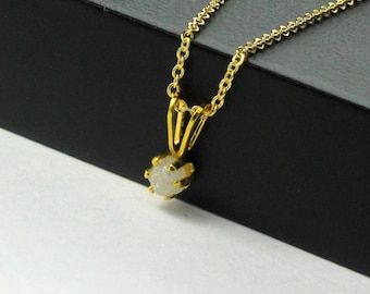 3mm Rough Diamond Pendant Necklace in 14K Gold Filled - White Stone, Raw, Uncut - April Birthstone - Birthstone Gift