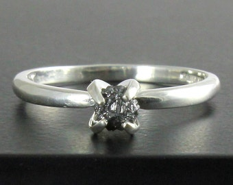Raw Rough Diamond Ring - Sterling Silver Black Diamond Ring - Engagement Ring - April Birthstone