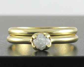 Set of Wedding Rings - 14K Yellow Gold with White Natural Diamond - Simple Design Unfinished Raw Diamond Ring - Engagement Ring