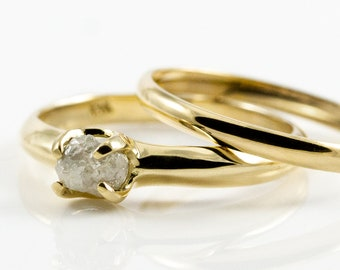 Set of Wedding Rings - 14K Gold with White Natural Diamond - Simple Design Unfinished Raw Diamond Ring - Engagement Ring