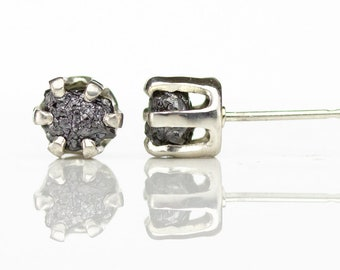 6mm Rough Diamond Ear Studs - Sterling Silver Post Earrings - Black Raw Conflict Free Black Diamonds - Large Studs