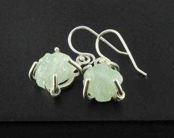 Rough Aquamarine Earrings in Sterling Silver - March Birthstone - Rough Gemstone Jewelry