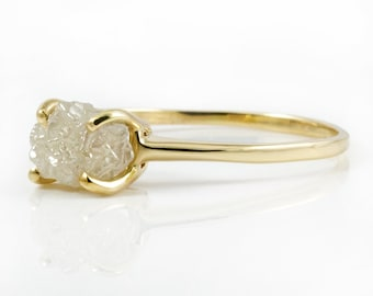 1.5 - 2.0CT Raw Rough Diamond Ring - 14K Yellow Gold Engagement Ring - Conflict Free Natural Diamond Ring - Oval White Raw Diamond