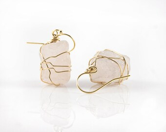 Wire Wrapped Natural Rough Rose Quartz Earrings - Mother's Day Gift - Large Pink Semi-Transparent Quartz - Birthstone Gift