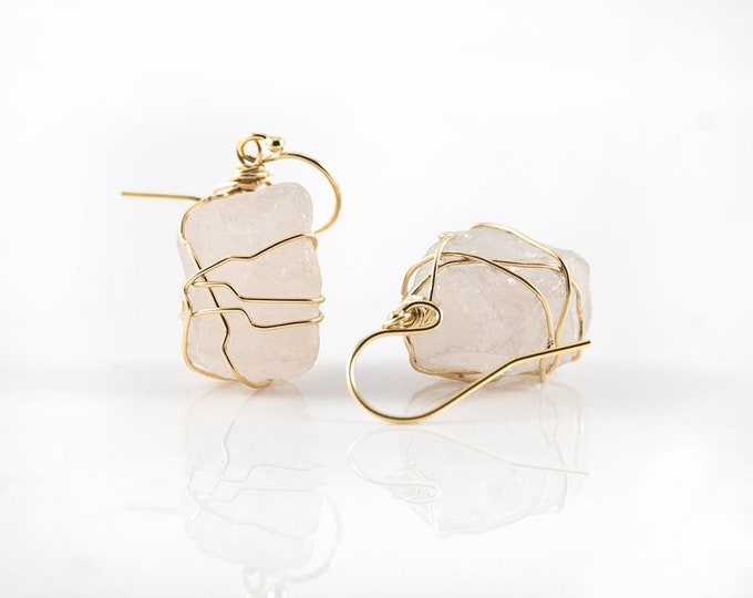 Featured listing image: Wire Wrapped Natural Rough Rose Quartz Earrings - Mother's Day Gift - Large Pink Semi-Transparent Quartz - Birthstone Gift