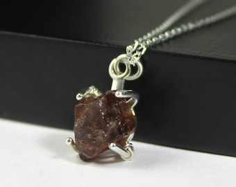 Garnet Necklace on Sterling Silver Chain - Mother's Day Gift - Raw Natural Garnet Stone - Deep Red Rough Garnet - January Birthstone