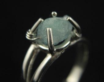 Rough Aquamarine Ring - Sterling Silver - Irregular Shape Aquamarine - Raw Aquamarine Stone Ring - March Birthstone