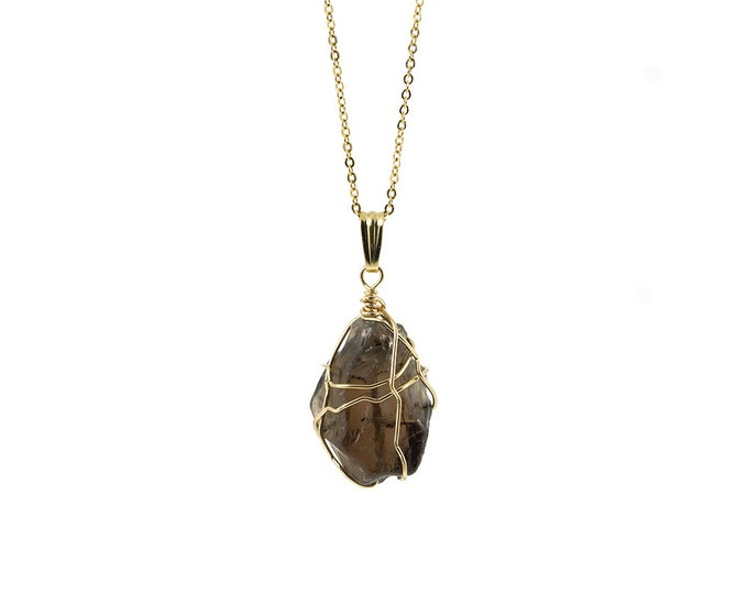 Featured listing image: Smoky Quartz Necklace on 14K Gold Filled Chain - Large Semi-Transparent Quartz - Wire Wrapped Rough Gemstone Jewelry