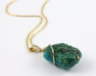 Turquoise Necklace - Mother's Day Gift - 14K Gold Filled Necklace Rough Turquoise - December Birthstone