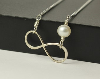 Figure 8 Link Necklace, Sterling Silver, Elegant Infinity Symbol Necklace, Freshwater Pearl, Friendship Necklace, Forever