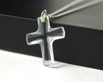 Swarovski Cross Necklace - Sterling Silver Large Crystal Clear Cross - Prom, Graduation Gift, Baptism, Bridesmaid Jewelry